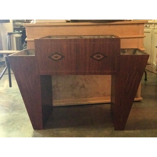 Wood and Zinc Planter or beverage cooler! Whatever you choose to use it for! Marquetry inlaid decorative pattern. circa...