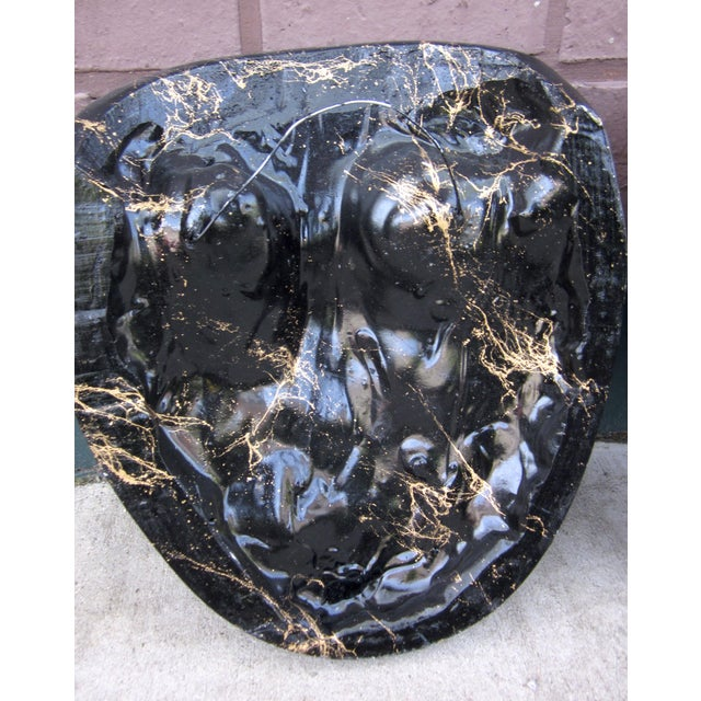 Late 20th Century Black and Gold Splatter Paint Plaster Face Mask Wall Sculptures - A Pair For Sale - Image 9 of 11