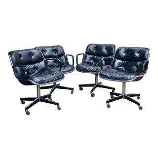 1970s Vintage Charles Pollock for Knoll International Black Leather Executive Chair- Set of 4 For Sale