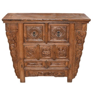Antique Flower Carvings Wood Chest with Secret Drawer
