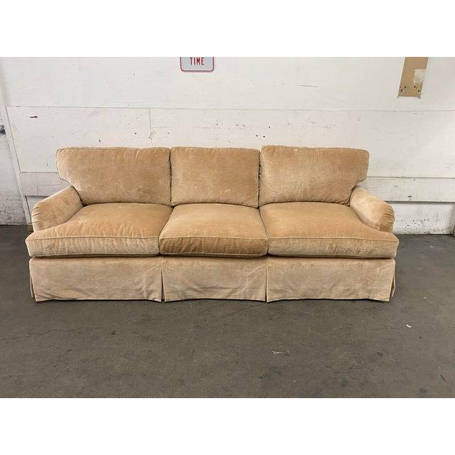 Belmar Custom Upholstery Rolled Arm Cream Velvet Sofa For Sale In San Francisco - Image 6 of 13