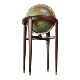1960s Replogle Illuminated Glass Globe on Mahogany Stand For Sale