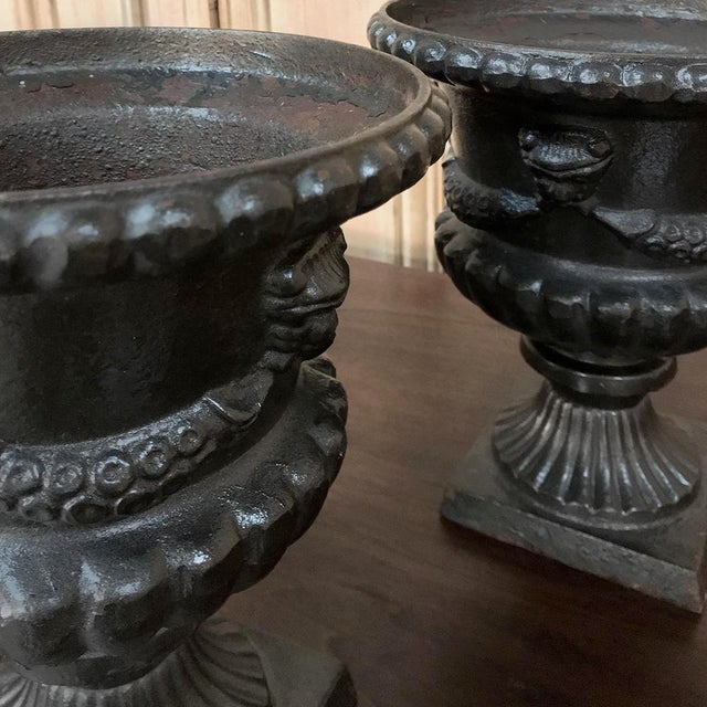 Garden Urns, 19th Century Neoclassical in Cast Iron - a Pair For Sale - Image 9 of 13