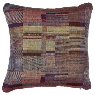 Indian Handwoven Pillow in Sunrise Plaid For Sale