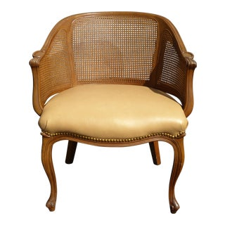Vintage French Style Cane & Leather Accent Chair For Sale