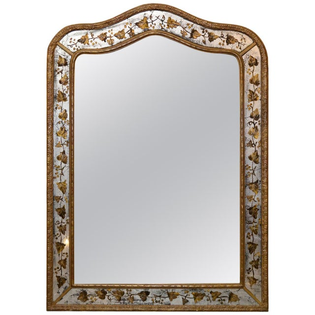 Glass 1940s French Jansen Reverse Painted Mirror For Sale - Image 7 of 7