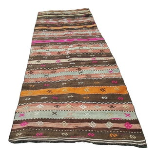 1980s Turkish Kilim Rug Runner - 3′7″ × 10′1″ For Sale