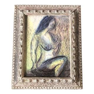 Original Vintage Abstract Modernist Female Nude Pastel Drawing Vintage Frame For Sale