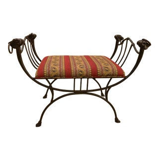 Vintage Upholstered Iron Bench For Sale