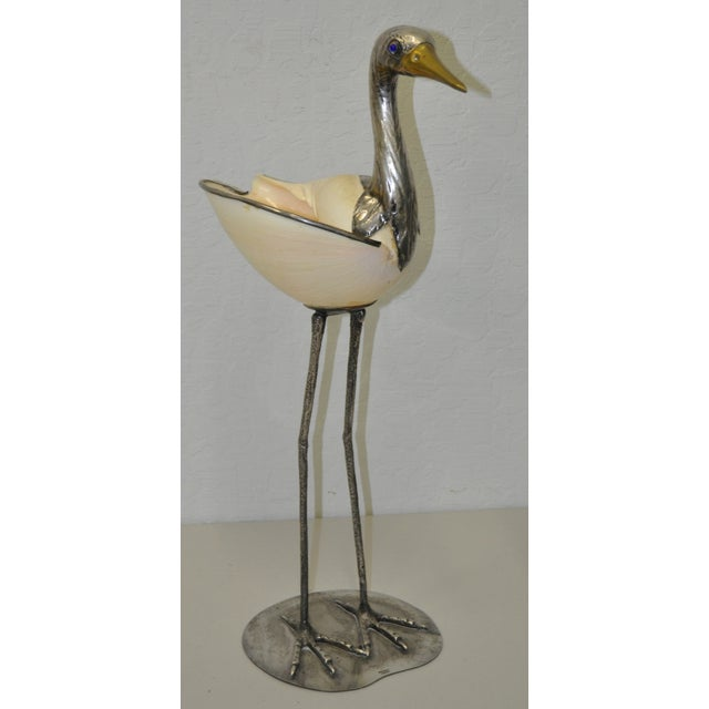 Silverplate & Shell Stork by Gabriella Binazzi - Image 2 of 7