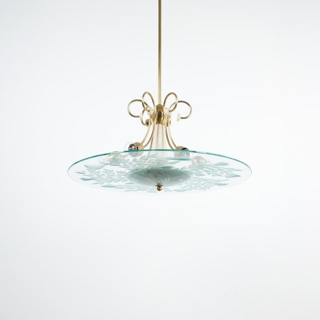 Large Chandelier Luigi Brusotti Glass Brass, Italy, Circa 1940 For Sale - Image 13 of 13