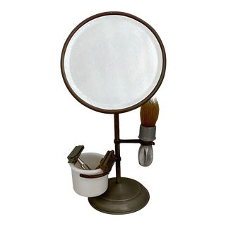 Antique Shaving Stand W/Beveled Mirror Set For Sale