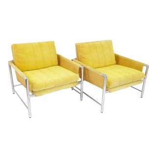 Founders Furniture Pair of Lounge Side Chairs in Polished Aluminium and Fabric,