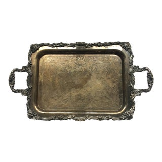 Vintage Sheridan Footed Silver Plate Serving Tray For Sale
