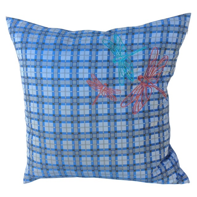 Plaid Embroidered Dragonfly Pillow - Image 1 of 5