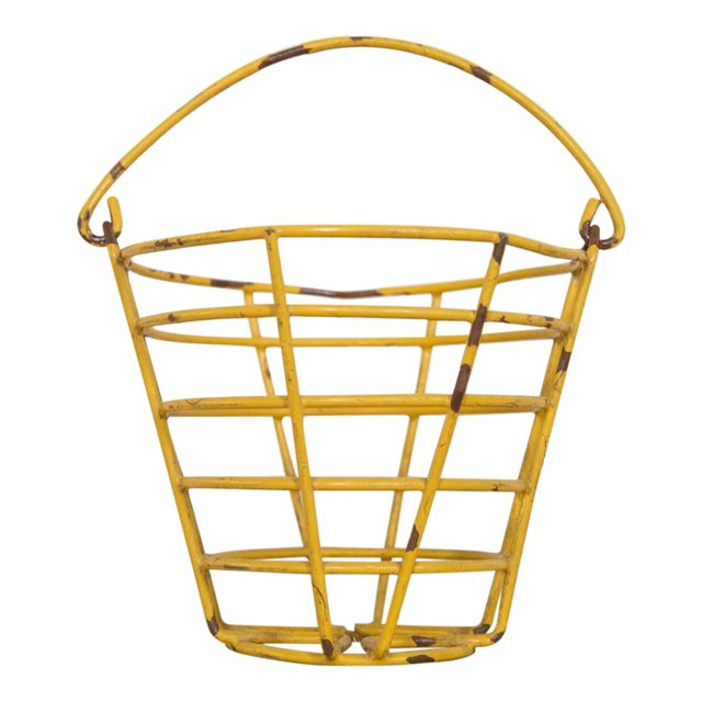 Small Vintage Yellow Egg Basket For Sale