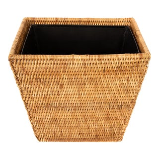 Artifacts Trading Rectangular Waste Basket With Metal Liner For Sale