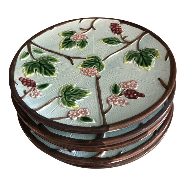 Hand Painted Majolica Plates - Set of 6 For Sale