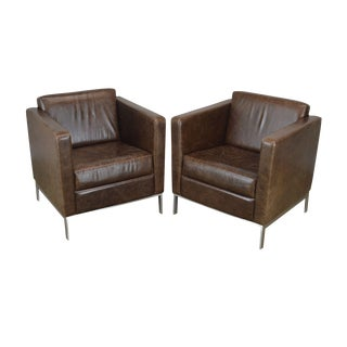 Cumberland Brown Leather Steel Frame Pair Floating Venlo Lounge Chairs For Sale