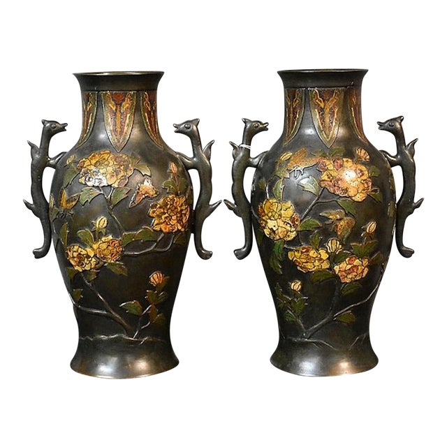 19th Century Bronze Cloisonné & Butterfly Two Handled Vases - a Pair For Sale
