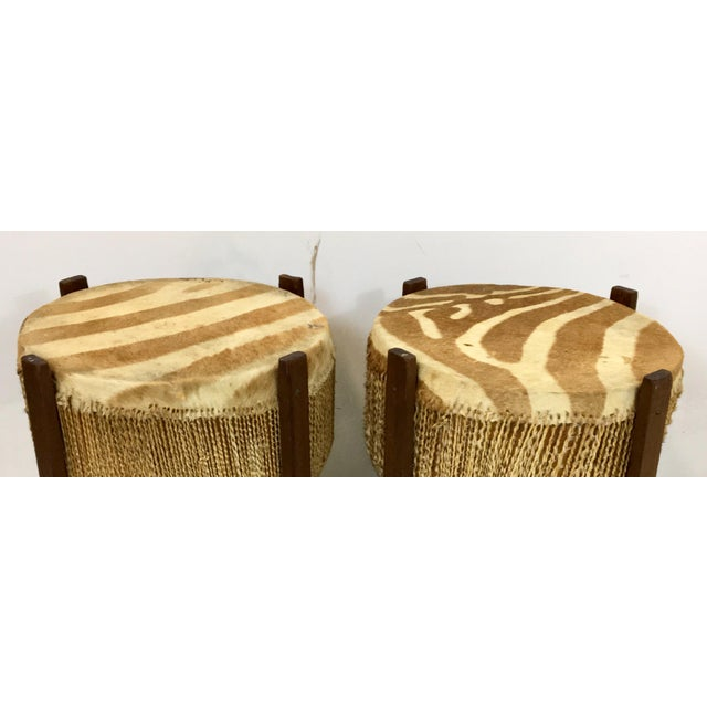 African African Zebra Skin Drum Tables - a Pair For Sale - Image 3 of 6