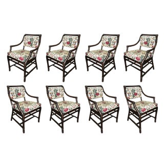McGuire Rattan Bamboo Dining Arm Chairs - Set of 8 For Sale