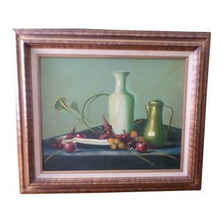 Mid Century Modern Signed Still Life Oil Painting on Canvas For Sale