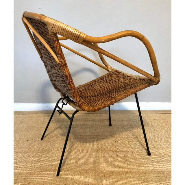 Arthur Umanoff Mid Century Italian Rattan & Sculpted Bamboo Boho Chic Chair For Sale - Image 4 of 12
