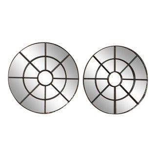 Antique Industrial Round Iron Mirrors - a Pair For Sale