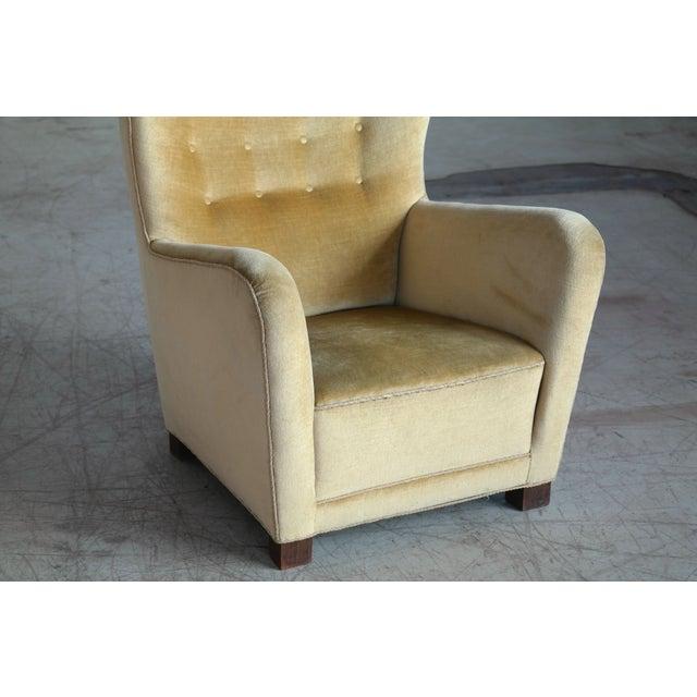 Fritz Hansen Model 1672 Highback Mohair Lounge Chair Danish Midcentury 1940's For Sale - Image 11 of 14