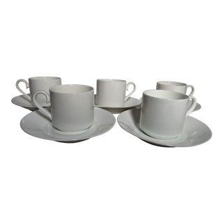 Vintage Villeroy & Boch White Bone China Coffee Cups and Saucers - Set of 10 For Sale