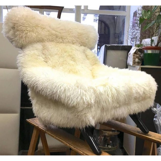Illum Wikkelsø Illum Wikkelso Spectacular Hammer Lounge Chair Covered in Natural Sheepskin Fur For Sale - Image 4 of 9