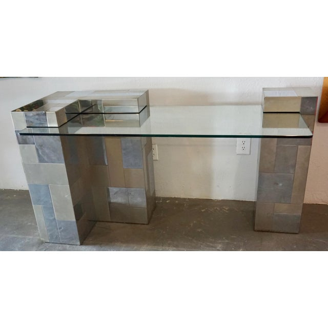"""Glass Paul Evans """"Cityscape"""" Desk or Console For Sale - Image 7 of 8"""