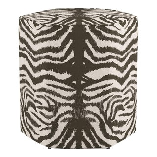 Hexagonal Ottoman in Zebra For Sale