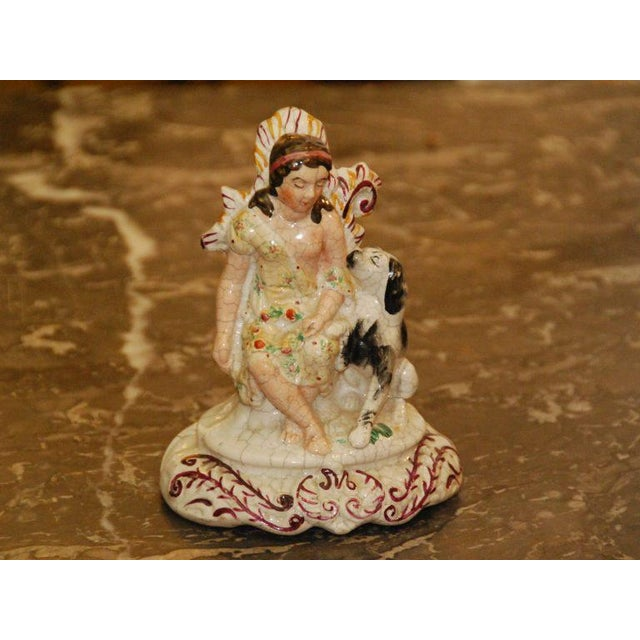 English Staffordshire Maiden With Dog - Image 2 of 4
