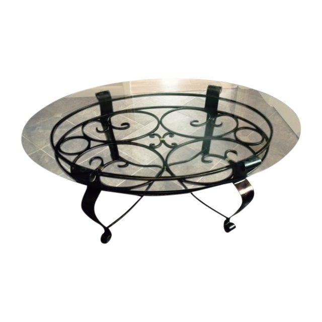 Glass & Iron Cocktail Table - Image 1 of 5