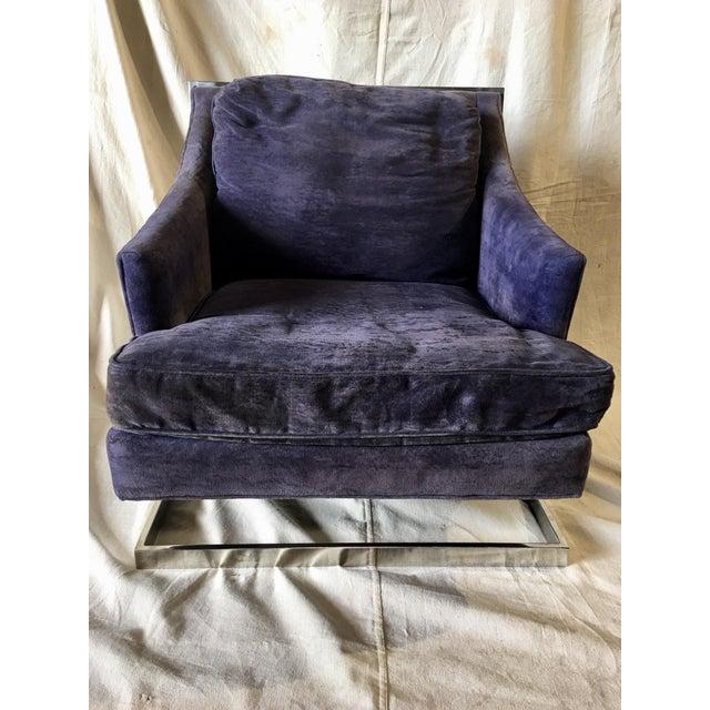Purple 1970s Vintage Bernhardt Flair Chrome Frame Club Chair For Sale - Image 8 of 8