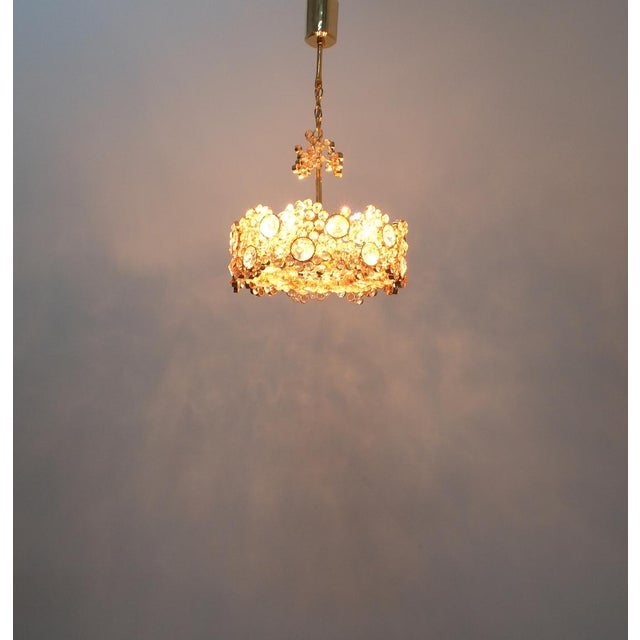 Palwa Crystal Glass Gold-Plated Brass Chandelier Refurbished Lamp For Sale - Image 11 of 12