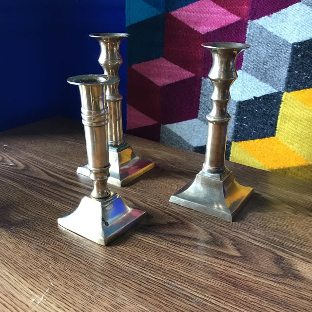 Beautiful collection of brass candlesticks, perfect for a wedding or dining room table. Vintage.