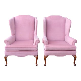 Vintage Queen Anne Pink Velvet Wingback Chairs by Sam Moore Furniture - A Pair