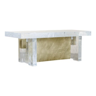 Melrose Bench by Robert Kuo, Brass and Crystal, Limited Edition For Sale