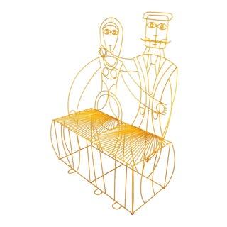John Risley Monsieur & Mademoiselle Patio Bench Sculpture For Sale