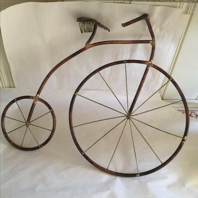 Mid-Century Brutalist Sculpted Copper Bicycle - Image 2 of 10