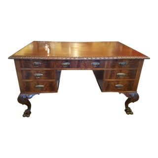 Late 19th Century Empire Revival Mahogany Partner Desk For Sale