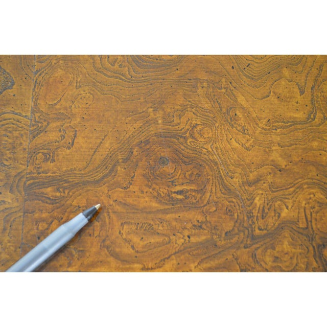 Burlwood Hekman Burl Wood Queen Anne 2 Drawer Console Table For Sale - Image 7 of 11