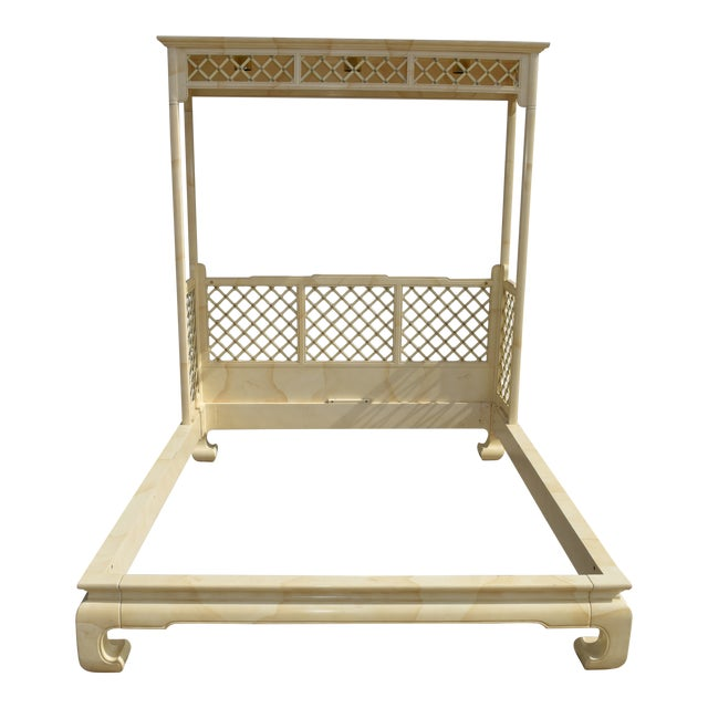 Chinoiserie Henredon Folio 16 Faux Goatskin Queen Size Canopy Bed For Sale