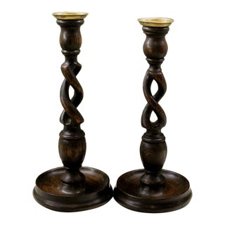 "Antique English Oak Open Barley Twist Candlesticks Candle Holders Tall 12"" Tall - a Pair For Sale"