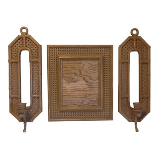 1980's Vintage Syroco Faux Wicker Brown Plastic Wall Frame & 2 Candle Sconces - Set of 3 For Sale