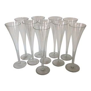 Vintage Hand Blown 10 Inch Trumpet Style Champagne Flutes- Set of 10 For Sale
