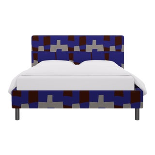 Queen Tailored Platform Bed in Blue Quilt For Sale
